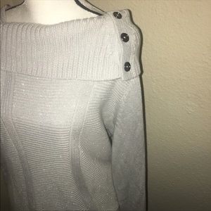 Silver Cowl Neck Sweater